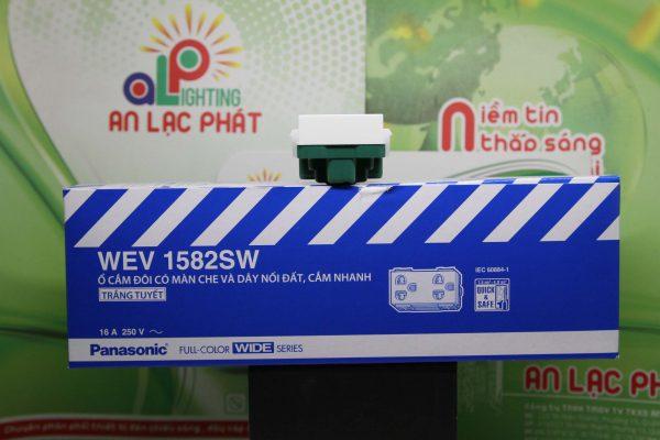 ổ cắm đôi có màn che Panasonic WEV1582SW - WEV1582-7SW tiện dụng
