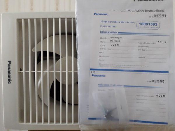 Phiếu bảo hành của quạt hút gắn tường Panasonic FV-15AUL1