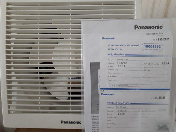 Phiếu bảo hành của quạt hút gắn tường Panasonic FV-20AL9